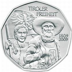 Австрия, 2009, 5 евро, Сопротивление Тироля 1809 года, реверс