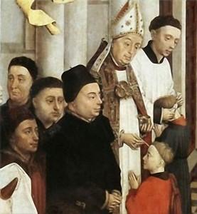 «Епископ совершает конфирмацию» (Рогир ван дер Вейден, XIV век)