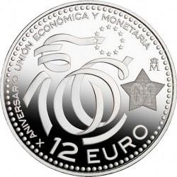 Испания, 12 евро, 10 лет Европейскому Экономическому союзу, реверс