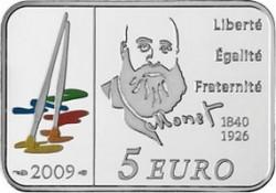 Франция, 2009, 5 евро, Клод Моне, аверс
