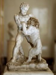 Геракл, душащий Немейского льва (фрагмент римского саркофага II—III вв. с изображением подвигов Геракла, Санкт-Петербург, Государственный Эрмитаж)