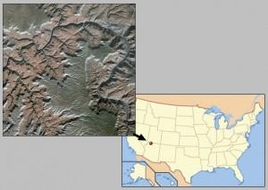 Вид Большого каньона из космоса