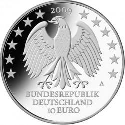 Грмания, 2009, 10 евро, 600 лет Лейпцигскому университету, реверс