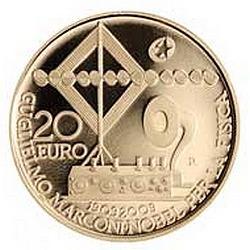 Италия 2009, 20 евро, Гульельмо Маркони, реверс
