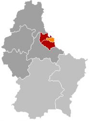 Вианден на карте Люксембурга