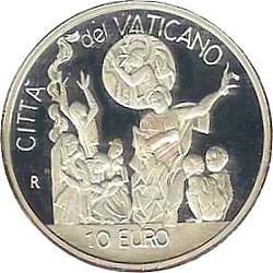 Ватикан, 2002, 10 евро, День мира во всём мире, реверс