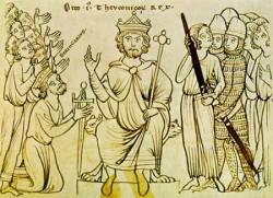 Оттон I на средневековом манускрипте принимает власть у итальянского короля Беренгара II