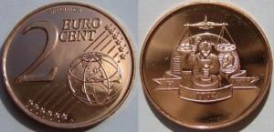 2 пробных евроцента Бирмингемского монетного двора