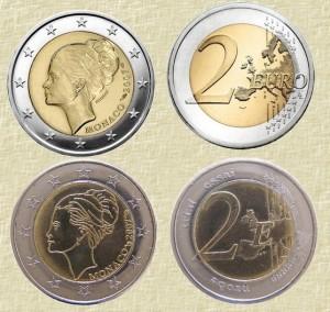 """Памятная монета Монако 2007 г. """"Грейс Келли"""" (сверху) и монетовидное изделие имитирующее эту монету (снизу)"""