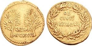 Зототая монета времен императора Октавиана Августа (18-19 гг. до н.э., 7,83 г.)