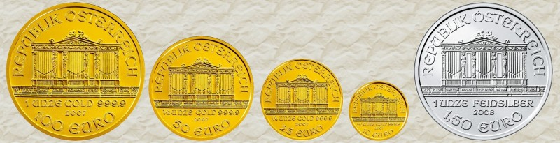 """Стандартная линейка """"Венской филармонии"""": 100 евро (1 унция золота), 50 евро (1/2 унции золота), 25 евро (1/4 унции золота),  10 евро (1/10 унции золота), 1.5 евро (1 унция серебра)"""