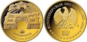 """Германия, 100-евро """"Вюрцбургская резиденция и дворцовый сад Хофгартен"""""""