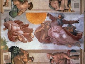 Сотворение Солнца и Луны (Микеланджело, Сикстинская капелла, 1508 г.)