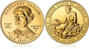 Золотая монета «Маргарет Тэйлор» серии «Первая леди США» (UNC)