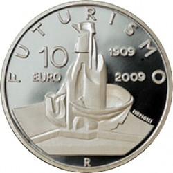 10 евро, Италия, 100 лет появления футуризма, реверс