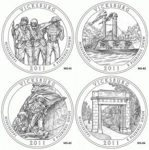 Проекты дизайна монеты, посвященной Национальному военному парку Виксбург