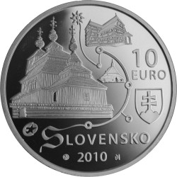 Словакия, 10 евро, Деревянные церкви Словакии, аверс