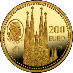 Испания, 2010, 200 евро, Гауди, реверс
