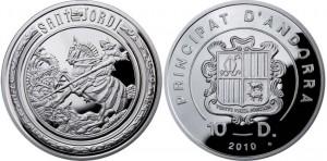 Монета Андорры, запланированная на 2010 г. (10 динаров)