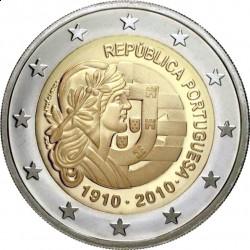 Португалия, 2 евро, 2010, 100 лет Республике