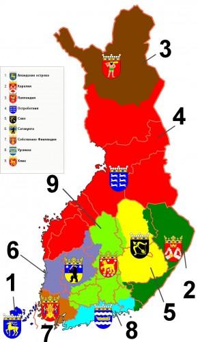 Исторические провинции Финляндии