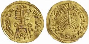 Золотой триенс Леовигильда (568-586 гг., 1,49 г, диам. 21 mm)