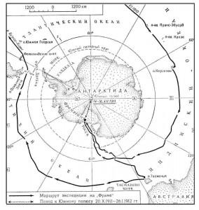 Карта антарктической экспедиции Р.Амундсена