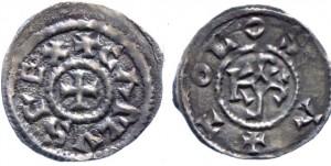 Серебряный обол Карла II (840 - 842 гг.)