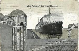 Почтовая открытка, датированная 1917 годом, с изображением старого тоннеля под Эльбой