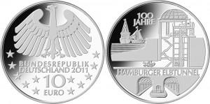 Медно-никелевая монета «100 лет туннелю под Эльбой в Гамбурге»