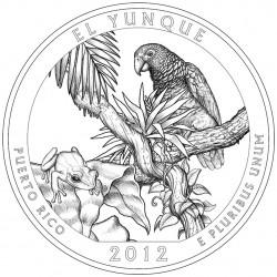 Монета «Национальный лес Эль-Юнке» в Пуэрто-Рико (El Yunque National Forest)