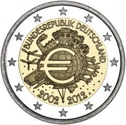 """Германия, 2 евро """"10 лет введения в наличное обращение евро"""""""