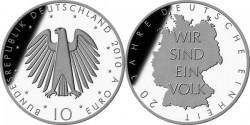 Германия, 10 евро, «20 лет объединения Германии»