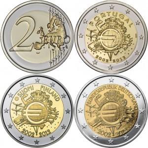 2-евровые монеты Португалии Финлиндии и Германии