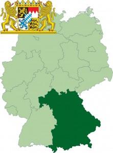 Федеральная земля Бавария на карте Германии