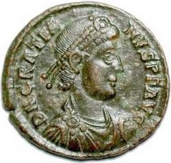 Монета императора Западной Римской империи Флавия Грациана (375-383)