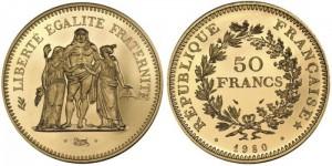 50-франковый золотой «Геркулес» 1980 года