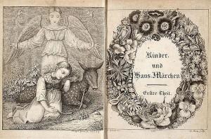 Обложка и титульный лист «Детских и семейных сказок» издания 1819 года.