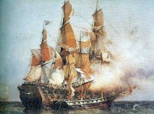 «Конфианс» под командованием Робера Сюркуфа берёт на абордаж «Кент» (Амбруаз-Луи Гарнери, XIX в.)