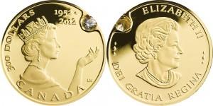 Канадская монета «Бриллиантовый юбилей королевы» с инкрустированным бриллиантом