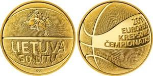 Литовская монета «Баскетбол», 1 унция 999-й пробы