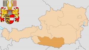 Каринтия на карте Австрии и герб федеральной земли