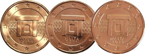 Образцы мальтийских монет малого номинала различных готов выпуска