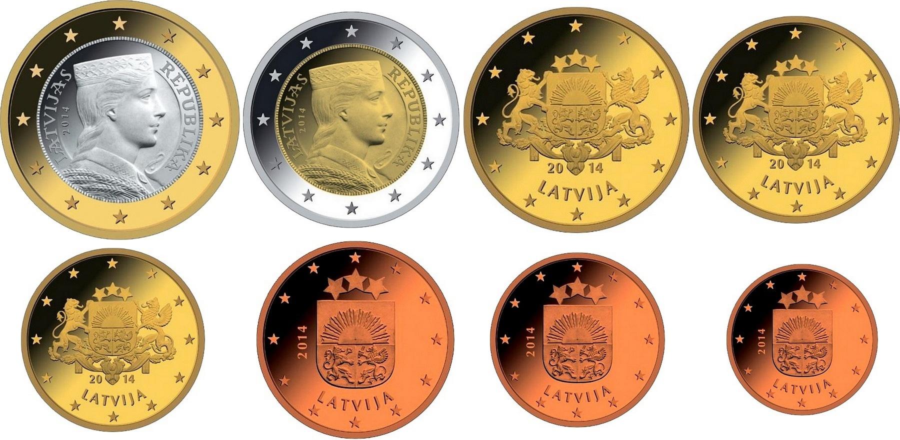 Lotyšské euromince, novinka letošního roku