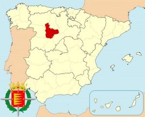 Вальядолид на карте Испании и герб города