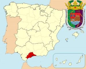 Малага на карте Испании и герб города
