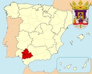 Севилья на карте Испании и герб города