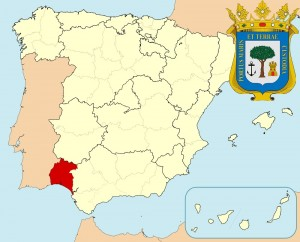 Уэльва на карте Испании и герб города