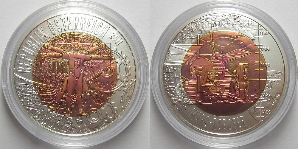 Австрия 25 евро 2011 роботизация стоимость сторублевой купюры крым