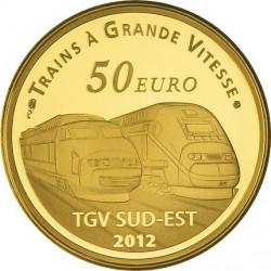 France 2012. 50 euro (gold). Gare de Lyon Saint-Exupéry